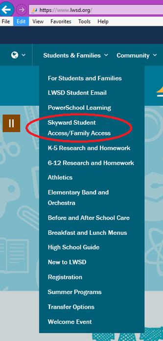 Drop Down Image to see Skyward Access Link