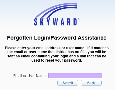 Skyward Forgotten Login/Password Assistance Image